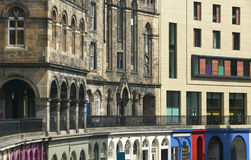 Antique and modern facades buildings in Edinburgh. Scotland. UK Royalty Free Stock Photo
