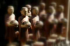 Antique monk. In wood carving Royalty Free Stock Photography