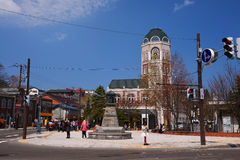 Antique monument and LeTAO bakery building, Otaru. OTARU, JAPAN - APRIL 21, 2016: Antique monument and LeTAO bakery and restaurant building at Sakaimachi Street Royalty Free Stock Images
