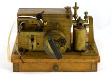 Antique Morse Code Equipment. A vintage Morse code Inker used for copying Morse code signals into paper. This type of inker was used by Marconi for his royalty free stock photos