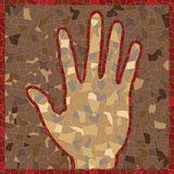 Antique mosaic panel with open palm Stock Images