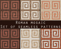 Antique mosaic, roman mosaic. Set of seamless patterns. Vector. Stock Image