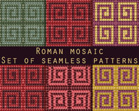 Antique mosaic, roman mosaic. Set of seamless patterns. Vector. Royalty Free Stock Images