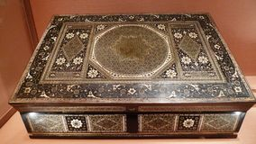 Antique mother of pearl inlaid jewelry box stock photography