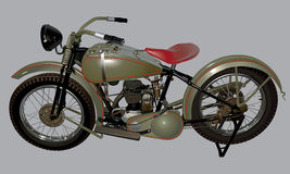 Antique motorcycle. Classic old car drawn in Royalty Free Stock Image