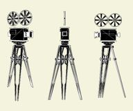 Antique Movie Stand Camera Vector 01 Stock Photo
