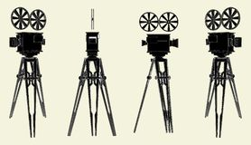 Antique Movie Stand Camera Vector 01 Royalty Free Stock Photography