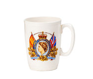 Antique mug celebrating coronation. Old Coronation cup from Queen Elizabeth II in June 1953 royalty free stock images