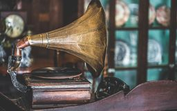 Antique Music Disc Player With Horn Gramophone royalty free stock photography