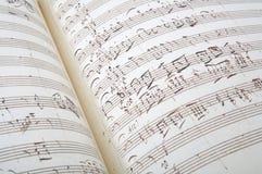 Antique music sheet background stock image