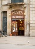 Antique music shop in La Rambla street, Barcelona royalty free stock photo