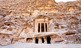 Antique Nabatean Temple in Little Petra Stock Photos