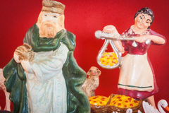 Antique nativity scene figures Royalty Free Stock Images