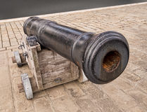 Antique naval cannon. Looking down the barrel of a gun Royalty Free Stock Photos
