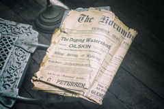 Antique newspaper from pioneer days. Antique newspaper from pioneering days in Australia Stock Photography