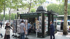 Antique newstand on Champs Elysees avenue in paris stock photography
