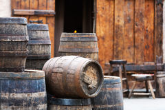 Antique oak barrels with steel hoops Stock Photography