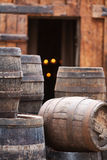 Antique oak barrels with steel hoops Stock Image