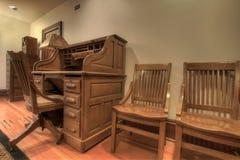 Antique Oak Roll Top Desk royalty free stock images