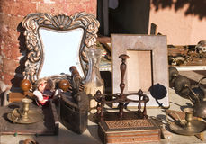Antique objects. Old stuff at the flea market Stock Photography