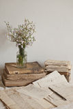 Antique objects. Antique letters, books and glass bottle with flowers Royalty Free Stock Photography