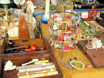 Antique objects for sale in a flea market. In Eforie Sud, Romania Stock Photos