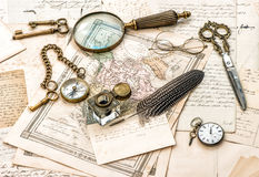 Antique office accessories, old handwritten mails Royalty Free Stock Photos