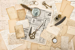 Antique office accessories, old letters and postcards Stock Images