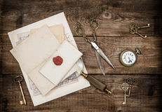 Antique office supplies writing accessories Nostalgic flat lay k Royalty Free Stock Photography