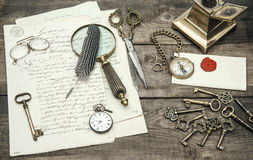 Antique office supplies and writing accessories. nostalgic still Royalty Free Stock Photography