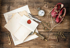 Antique office supplies and writing accessories. Nostalgic still Royalty Free Stock Photo