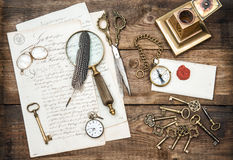 Antique office supplies, writing accessories and old keys Stock Images