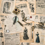 Antique office supplies, writing tools, vintage fashion magazine Royalty Free Stock Photography