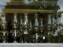 Antique oil lamps for sale Royalty Free Stock Photos