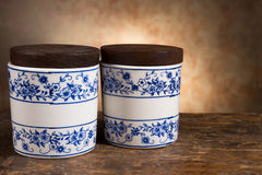 Antique ointment or balm pots Royalty Free Stock Photos