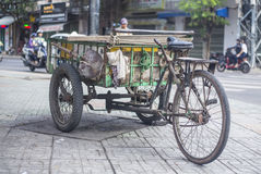 Antique old cargo bicycles, cargo tricycles. Stock Photography