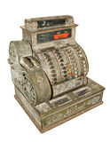 Antique old cash register. Isolated on white background Stock Images