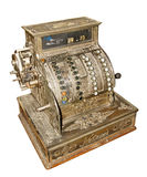 Antique old cash register. Isolated on white background Royalty Free Stock Images