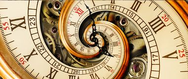 Antique old clock abstract fractal spiral. Watch classic clock mechanism unusual abstract texture fractal pattern background. Old Royalty Free Stock Photos