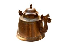 Antique old copper kettle isolated. Antique rustic retro copper kettle isolated on white background royalty free stock photos