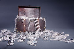 Antique Old crate with jewelery Royalty Free Stock Photography
