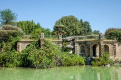 Antique old fountain of the Lily in the park of Villa Doria-Pamphili in Rome, Italy royalty free stock photos