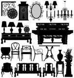 Antique Old Furniture Home House. A set of antique old furniture for interior design Stock Photos