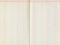 Antique old ledger paper pad with lines. For bookkeeping Stock Photo