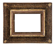 Antique old picture frame wooden ceramics isolated on white Stock Image