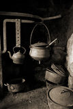 Antique old pots on fireplace Stock Images