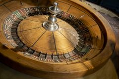 1897 Roulette Table. This antique old Roulette table was made in 1897 made in New York by F. Grote and Company. This was bought by Soencer Penrose along with the royalty free stock image