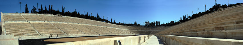 Antique Olympic Stadium Athens. 14 shot panorama of the ancient olympic stadium in Athens, Greece Stock Photography
