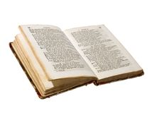 Antique open book isolated Royalty Free Stock Photos