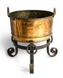 Antique open brass pot Stock Photos